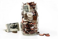 Money in a jar for bail bonds